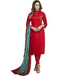 Vasu Saree Orange Heavy Jam Cotton With Designer Hand Work Long Stitched Suit