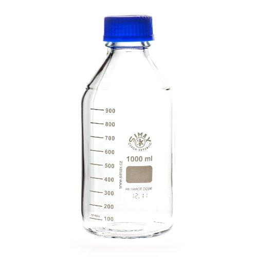 Laborgewindeflaschen mit blauer Kappe und Ring 1000 ml