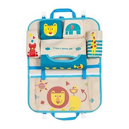 Tirzah Cartoon Autositz Zurück Organizer Aufbewahrungsbeutel Hängen Baby Reise Auto Organizer Boot Multi-Tasche für Kinder Kinder (Blauer Löwe)
