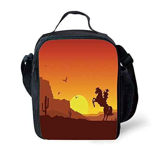 ZKHTO School Supplies Western,American Wild West Desert with Cowboy on Horse Sunset Cactus Arid Lands Decorative,Orange Yellow Brown for Girls or Boys Washable