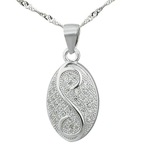Epinki 925 Sterling Silber Damen Halskette, Oval Form Anhänger Elegant Silberkette Damenkette Weiß 2.04x1.14 CM mit (Lustige Bilder Hunden In Von Kostümen)