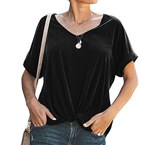 LUGOW Kurzarm Tunika Damen Sexy V-Ausschnitt T-Shirts Ärmellos Tank Top Kurzarm Einfarbig Bluse Tops Locker Oberteile Große Größe Blusen(Large,Schwarz) -