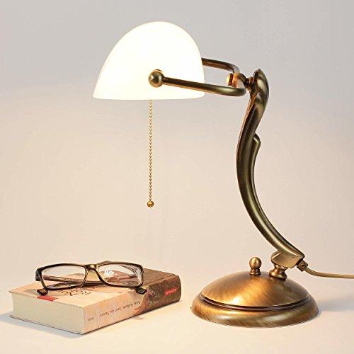 Bankerlampe Glasschirm Echt-Messing Bronziert Glänzend Jugendstil Art Déco Zugschalter Schreibtischlampe Büro -