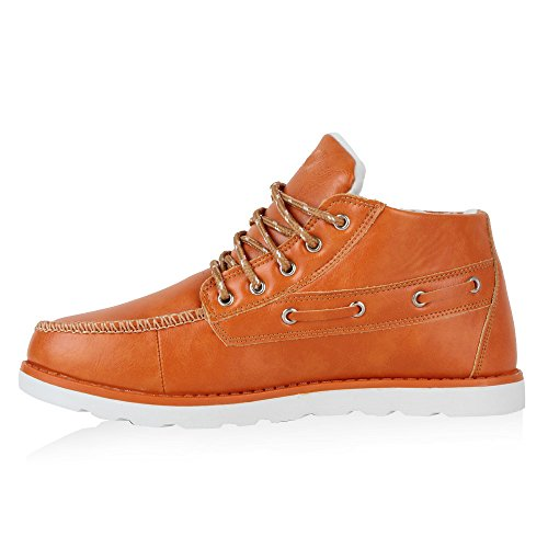 Warm Gefütterte Herren Halbschuhe Boots Schnürer Profilsohle Orange