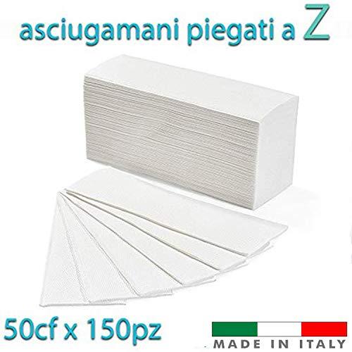 Palucart 7500 Asciugamani piegati a z asciugamani di carta per dispenser piegati a Z microgoffrato pura cellulosa interfogliati 50 Conf. da 150 pz