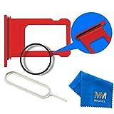 MMOBIEL Sim Karte Schlitten Tray Holder Halterung Nano Slot Ersatzteil für iPhone 7 4.7 inch (Rot) Incl. Waterproof Rubber Ring + Sim Open Eject Pin und Mikrofaser Tuch