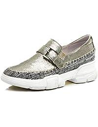 Zapatos con Cuña Purpurina Plataforma para Mujer,MWOOOK-817 Mujer Mocasines Plataforma Casual Loafers