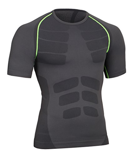 Bwiv maglietta compressione uomo manica corta leggera e attillata nero m
