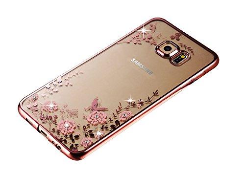 Minto Diamant TPU Blumen Hülle iPhone 6 6s Transparent Silikon Schutzhülle Handyhülle Case Cover Etui Tasche - Rosegold mit Pink Blumen Rosegold mit Pink Blumen -s6 edge+