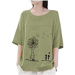 IMJONO Top Femme Grande Taille Chemise Coton Lin T-Shirt Femme Pas Cher Casual Col Rond Blouse imprimé T-Shirt Élégant en Vrac Lin Broderie Tops Simple Casual, Blouse Basique(Vert,XXL
