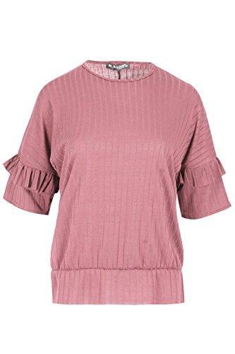 Be Jealous Frauen Bell Krause 3/4 Hülse Baggy übergroßes Peplum gerippt T-Shirt Top Rose