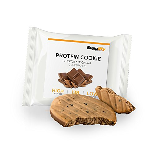 Protein Snack Cookie Protein Riegel Chocolate Chunk von Supplify mit Whey Pulver – Proteinriegel als Mahlzeitenersatz für Protein Shake – Energieriegel für Muskelaufbau und Abnehmen