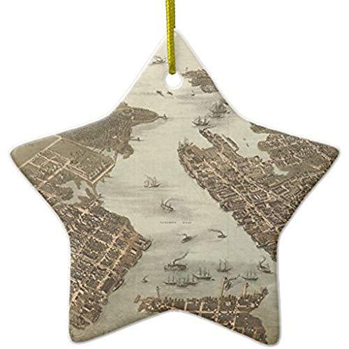 Diuangfoong Vintage Karte von Norfolk und Portsmouth Va 1873 Keramik Ornament Stern Norfolk Draht
