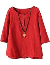 Vogstyle Femmes T-shirts Coton Lin Chemise Chic Simple Haut Jacquard Tops Tunique