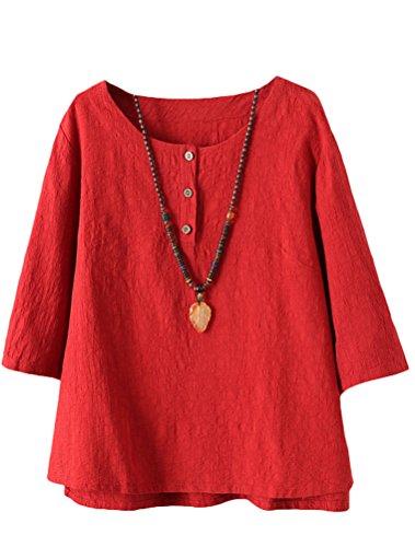 Top Tunika T-shirt Kleid (Vogstyle Damen Baumwoll Leinen Tunika T-Shirt Jacquard Oberseiten, Rot, XL)