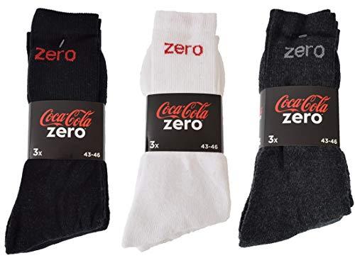 Coca-Cola 6|9|12|24 Paar Herren/Damen Sportsocken wahlweise in Schwarz, Weiß, Blau/Grau in 39-42 und 43-46 (43-46, 9 Paar Schwarz)