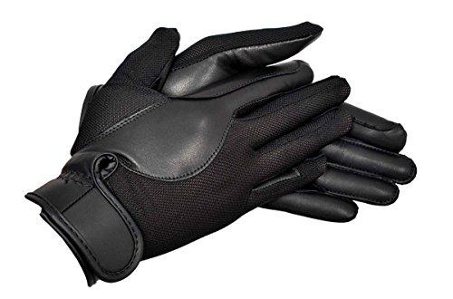 Riders Trend Gants d'équitation en Cuir et Tissu AirMesh pour Femme, Femme, AirMesh/Leather, Noir