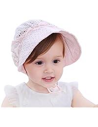 b19fdb04667c HBselect Bébé Fille Chapeau de Soleil, Large Bord Respirant Bébé Bonnet  Sweet Princess Style Fleur