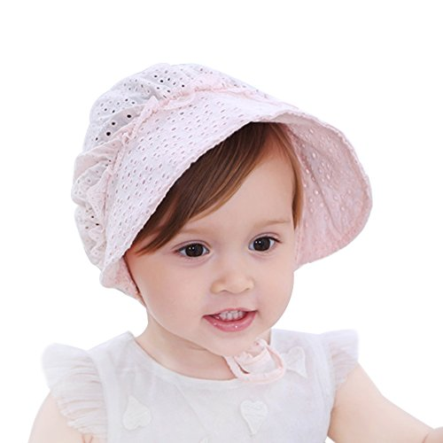 HBselect Baby Girl Sun Hat, Wide Brim Breathable Baby Bonnet Sweet Princess Style Flower Eyelet Summer Cap (Pink)
