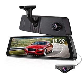 """X1PRO Streaming Dashcam mit 9.88"""" Touchscreen, Full HD 1080P Autokamera vorne und hinten 720P AHD IP68 wasserdichte Rückfahrkamera mit Nachtsicht, WDR, LDWS, GPS,Auto-Helligkeitseinstellung"""