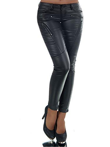 N585 Damen Jeans Hose Lederimitat Damenjeans Lederlook Röhrenjeans Leder-Optik, Farben:Schwarz;Größen:40 (L) (Schwarz Leder Diva)