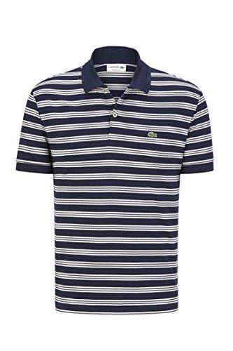 Marine-blau-t-shirt Klassiker (Lacoste DH2017 Modisches Herren Polo, Polohemd, Poloshirt, Kurzarm, Regular Fit, 100% Baumwolle Blau (Marine HHW), EU 3)