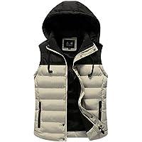 Lihaer Mens Body Warmers Padded Gilet Padded Puffer Jacket Sleeveless Coat Vest Ultralight Vest Dark Blue M