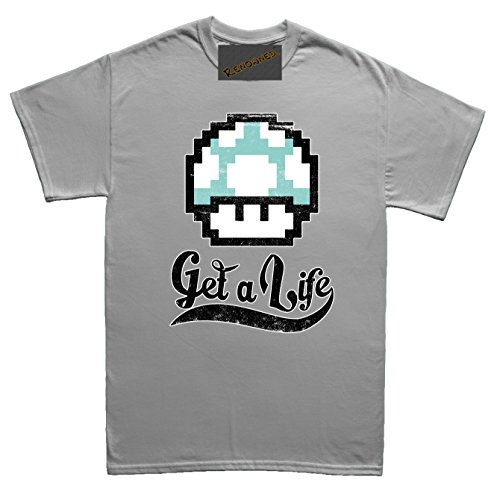 Renowned Get a Life ! Unisex - Kinder T Shirt Grau
