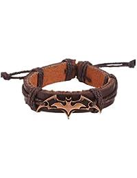 Chichengnian Vintage Punk Bat Colgante Pulsera de Cuero Bronce