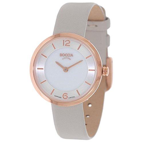 Boccia Damen Digital Quarz Uhr mit Leder Armband 3266-02