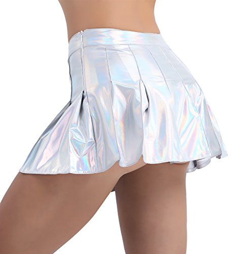 iixpin Glänzend Rock Damen Mädchen Lackleder Cheerleading Bekleidung Karneval Fasching Party Rock Halloween Kostüm (nur Rock) Silber X-Large
