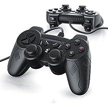 2 x Gamepads USB con cable para PS 3 con doble vibración | controlador de mando | Plug & Play | negro