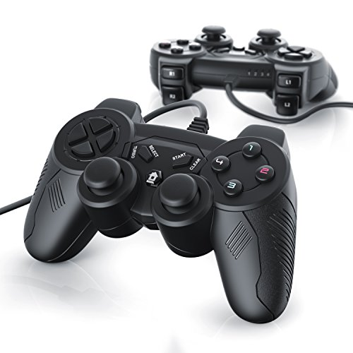 CSL-Computer 2 x Gamepads USB con Cable para PS 3 con Doble vibración | Controlador de Mando | Plug & Play | Negro