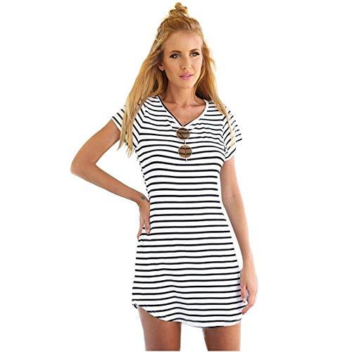 Dtuta Onesies for Women Stitch Europa Und Amerika Streifen Wilde Sexy V-Ausschnitt Schwalbenschwanz Kleid Kurzarm Einfache Komfortable Atmungsaktive Urlaub Am Meer