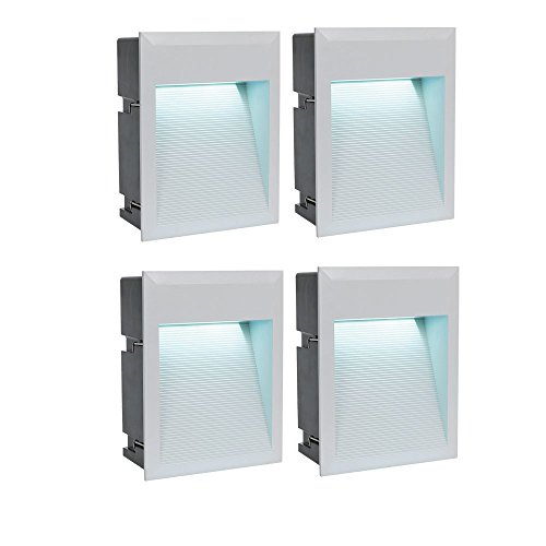 4er Set LED Wand Einbau Lampen Außen Bereich Leuchten Treppen Stufen Beleuchtung