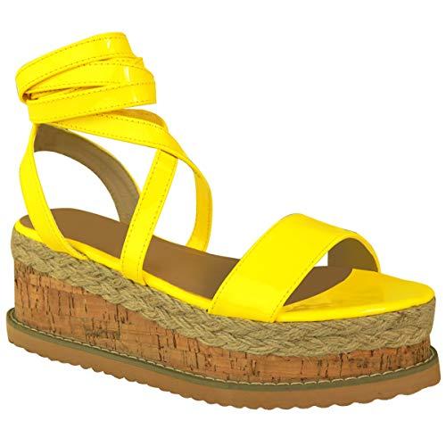 Damen Plateau Kork Espadrilles Sandalen Mit Keilabsatz Knöchel Schnüren Schuh Größe - Gelb Neon Patent, 37 Patent Schuhe