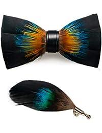 JEMYGINS Homme (réglable) plume et cuir noeud papillon fait à la main en différentes couleurs + boîtes en bois dominé
