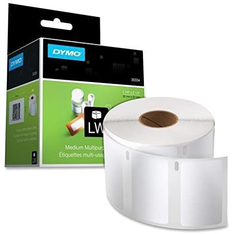 30334 Dymo LabelWriter Multipurpose Label - 2.25 Width x 1.25 Length - 1000 / Roll - Rectangle - 1000/Roll - White by DYMO