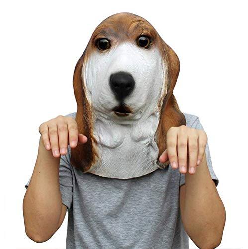 Tier Kostüm Gummi Latex Hound Dog Maske für Erwachsene Halloween Maquerade Party Dress Up ()