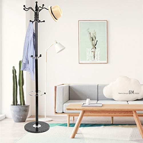 Attaccapanni,appendiabiti,appendino,176.5 cm,base in marmo + metallo cromato, vestiti appesi, cappello, con portaombrelli