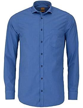 BOSS ORANGE Slim Fit Hemd CATTITUDE Langarm Brusttasche mittelblau