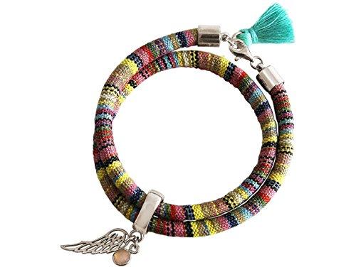 Gemshine - Damen - Armband - Wickelarmband - 925 Silber - Flügel - Engel - AZTEC - Rosenquarz - ()