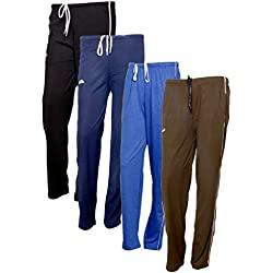 Indistar Women's Premium Cotton Lower with 1 Zipper Pocket and 1 Open Pocket(Pack of 4)_Black::Blue::Brown::Brown-40
