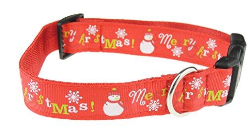 Festive Weihnachten Schneemann Schneeflocke bedrucktes Nylon Verstellbare Hundeleine Halsband