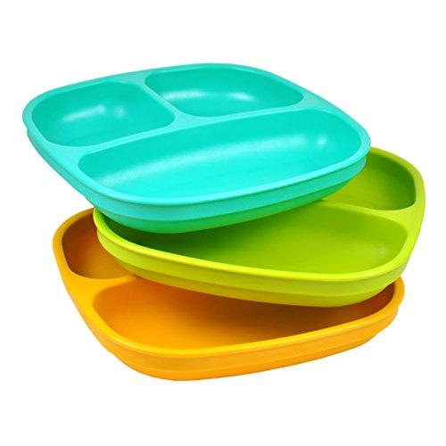 Re-Play, Kinderteller unterteilt Set, 3 Stück | BPA-frei | Stabiles Kindergeschirr | nachhaltig durch Recyclingmaterial | (Aqua)