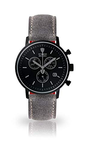 DETOMASO Milano Mens Watch Chronograph Analog Quartz Grey Leather Strap Black dial DT1052-P-803