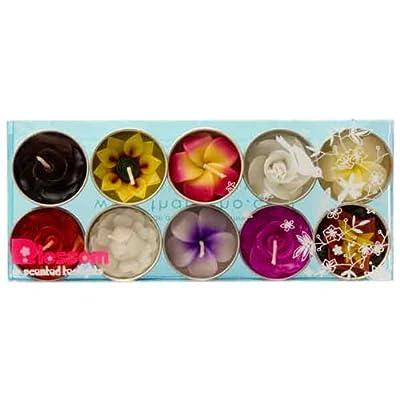 Mixed 10 handmade fairtrade scentd flower tealight candle in assorted designs and colours gift set von Hana Blossom auf Du und dein Garten