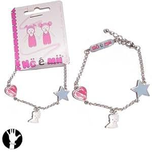 Bracelet en Métal Argenté Pendentifs Chat Etoile Coeur - Bijoux Fantaisie Enfant Petite Fille