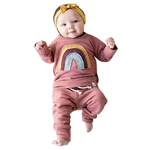 WEXCV Kleinkind Baby Jungen Mädchen Set Kleidung Regenbogen-Muster Sweatshirt Top + Lose Hosen Herbst Mode Freizeit Niedlich 2 StüCk Outfits (2 Stück Marienkäfer Kostüm)