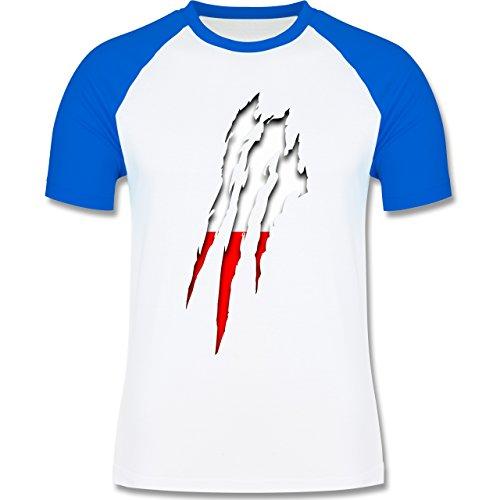 Länder - Polen Krallenspuren - zweifarbiges Baseballshirt für Männer Weiß/Royalblau